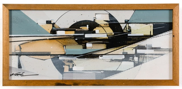 infrastructure study [KO dissected 01], (2014) Acrylic & Spray Paint on Found Masonite Panel, Finished in Matte Satin Gel Medium and Framed in Reclaimed Walnut Wood 8.5 x 18.5 x 2 Inches $1,100