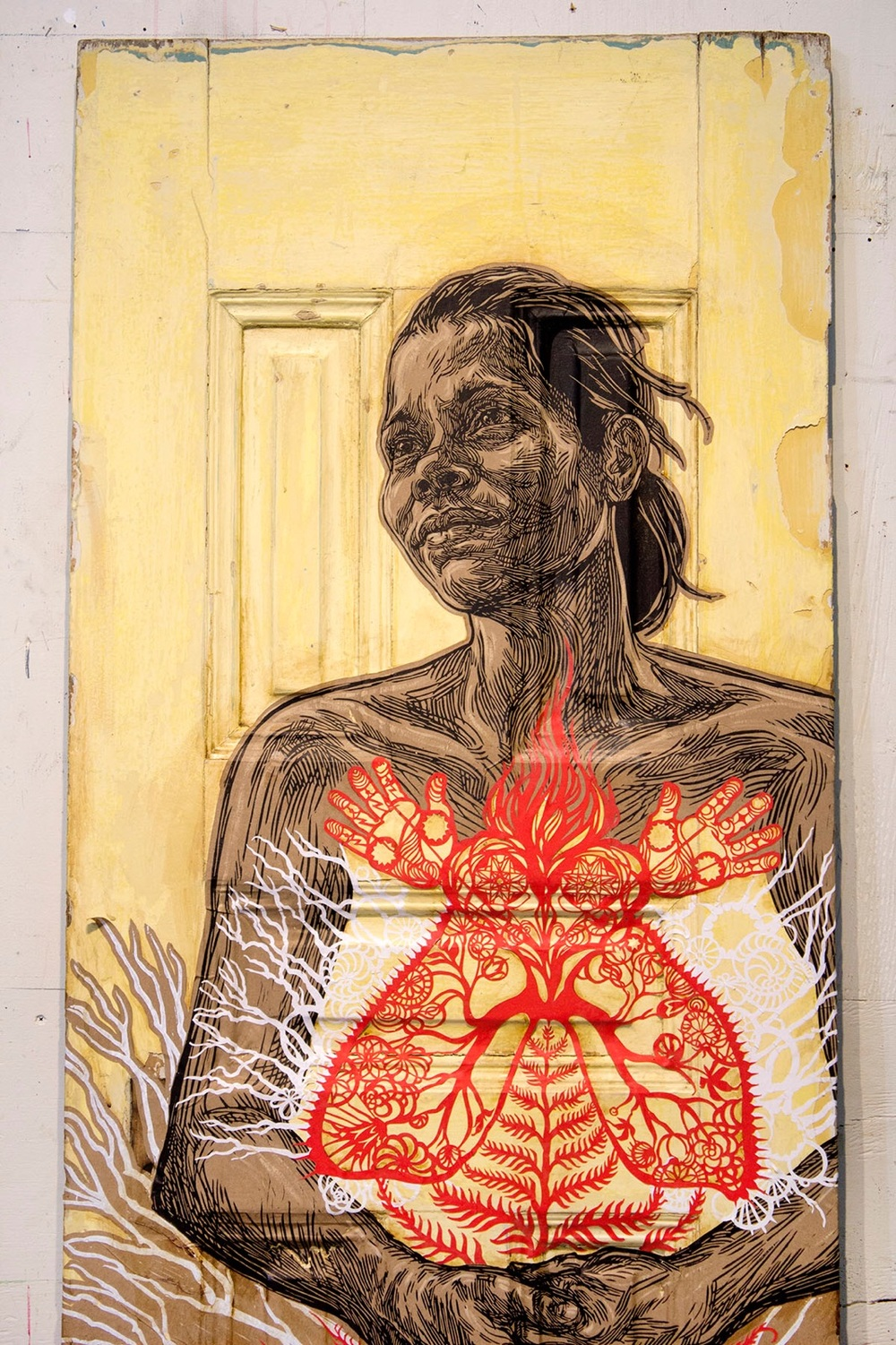 "Sonia, 2016 Paintings, Block print, hand painted acrylics and and hand cut paper on wooden and glass door 27"" x 66"" inches"