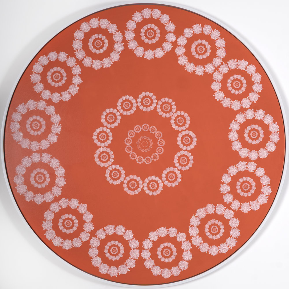 "Recursion (White on Orange) (2017) Acrylic on canvas; white floater frame 60"" in diameter"