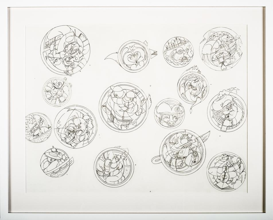 """Collision Course,  2016 Pencil Drawing on 70lb Paper; white mat and frame 18""""x 24"""" inches"""