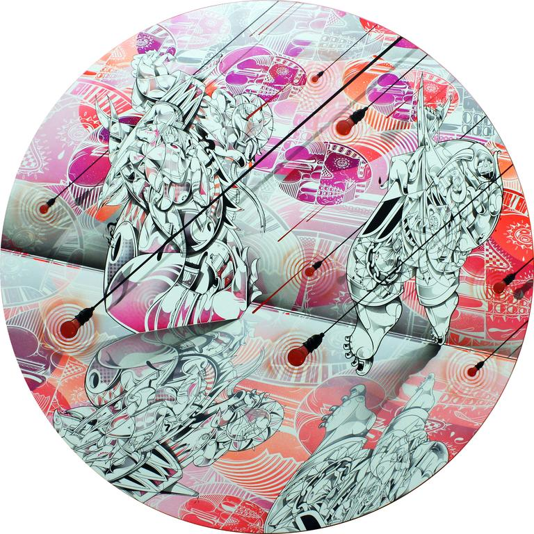 """Seeing Double,  2015 India Ink, Cel Vinyl Paint, Air Brush Paint, Acrylic Paint, Spray Paint and Collage on Canvas 72"""" inch diameter"""