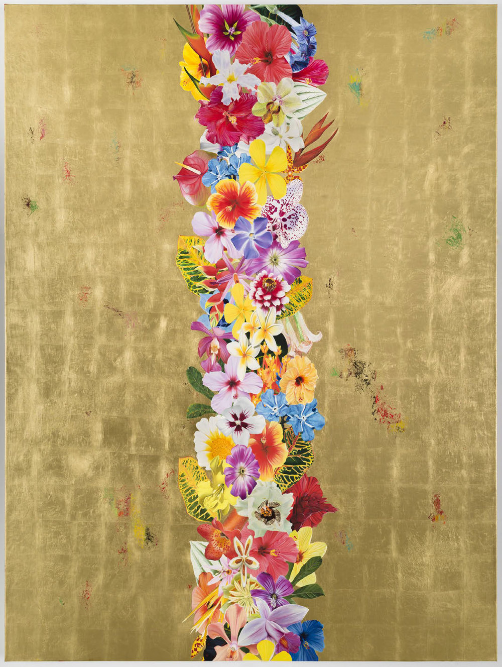 Gild the Lily (Decadence Upon Decadence I),  2016 Oil, satin varnish, and imitation gold leaf on canvas 96 x 82 inches