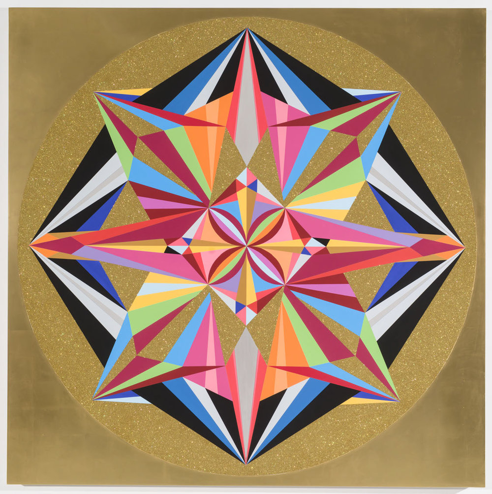 Mandala (Vera List Painting),  2016  Acrylic, diamond dust, quartz crystals, and 24kt gold leaf on aluminum panel with frame  60 x 60 inches