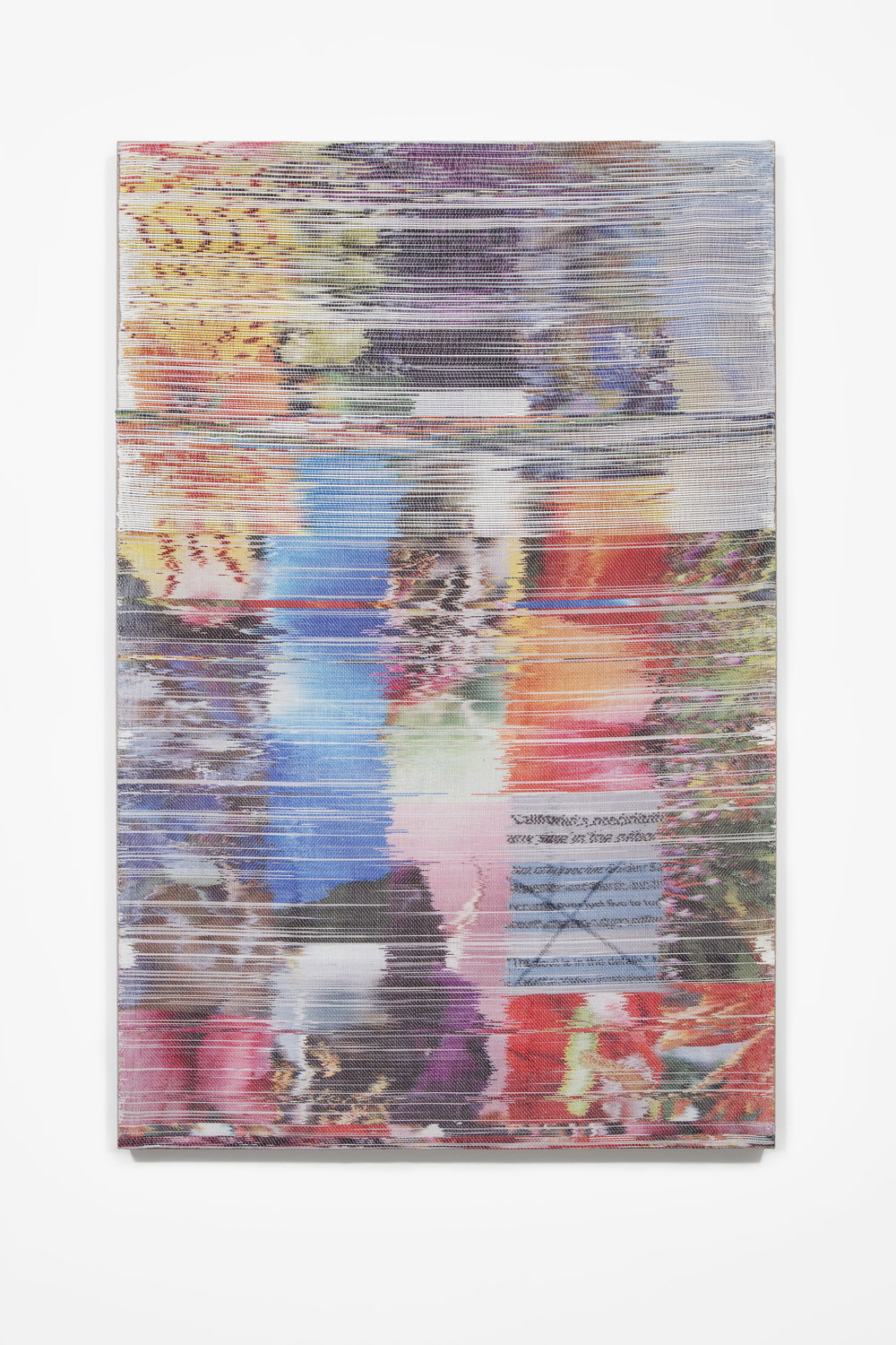 Margo Wolowiec:   Golden State , 2018 Handwoven polymer, linen, sublimation dye, acrylic ink 58h x 38w inches