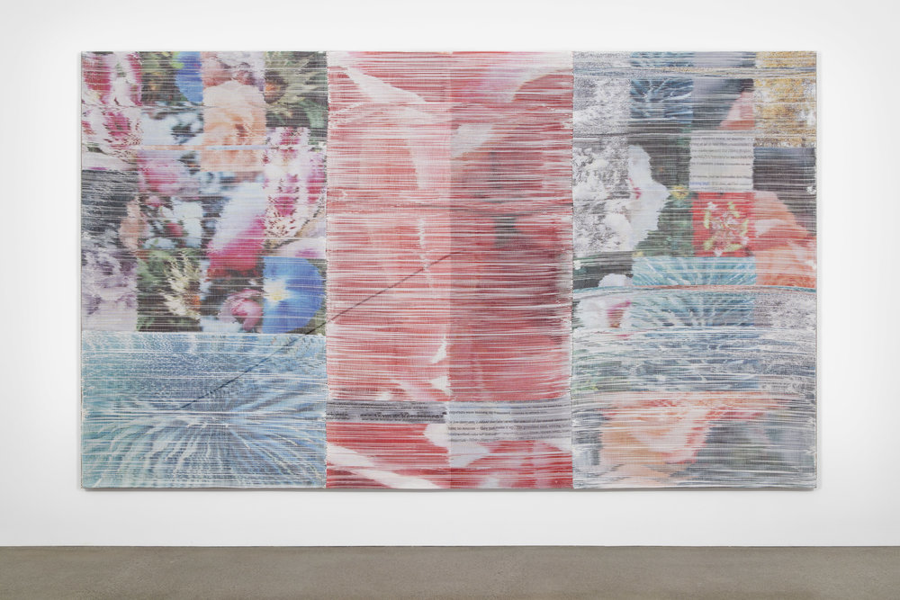 Margo Wolowiec:   Harbinger,  2018 Handwoven polymer, linen, sublimation dye, acrylic ink 85h x 141w inches