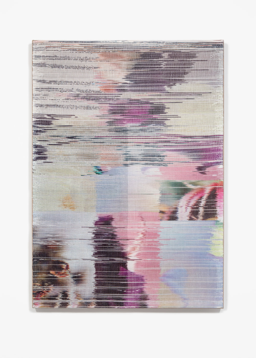Margo Wolowiec:   Auger,  2018 Handwoven polymer, linen, sublimation dye, acrylic ink 38h x 28w inches