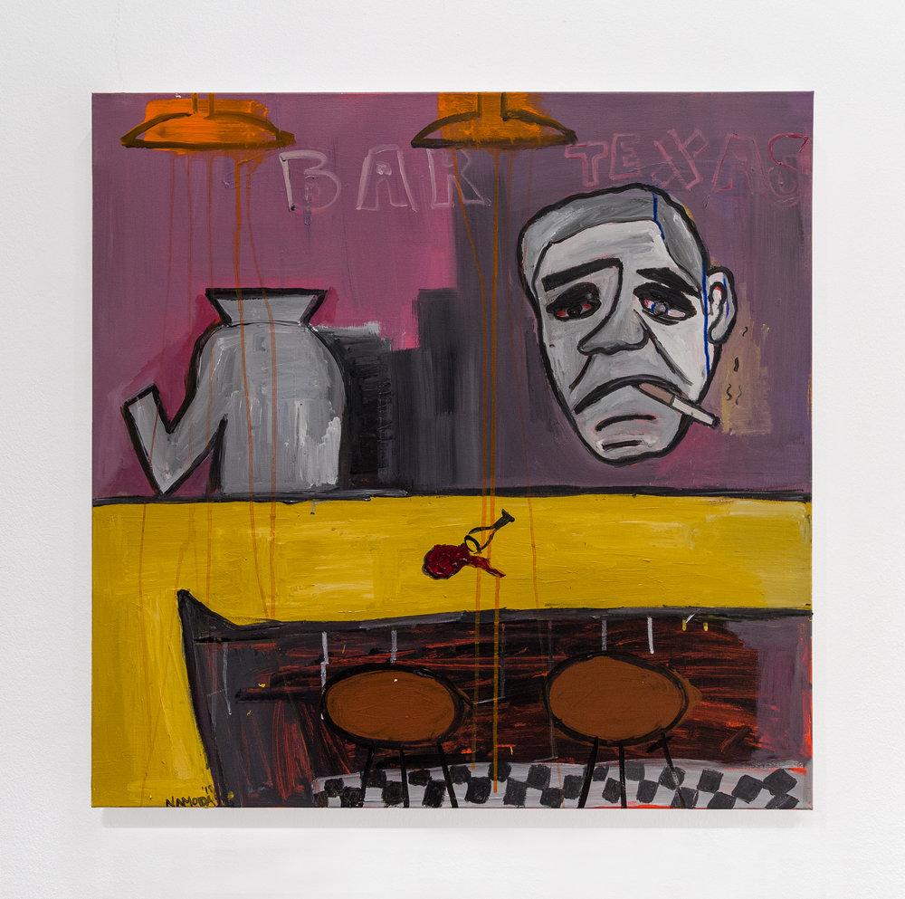 Cassi Namoda:   Bodiless Bartender , 2018 Acrylic on canvas 30h x 30w inches