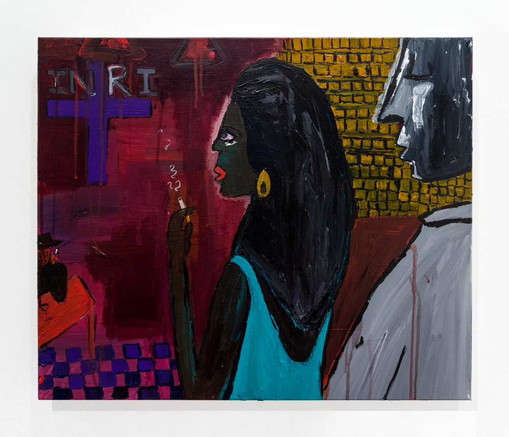 Cassi Namoda:   Maria Caught in a Vision, Bar Texas, Maputo City 1971 , 2018 Acrylic on canvas 20h x 24w inches