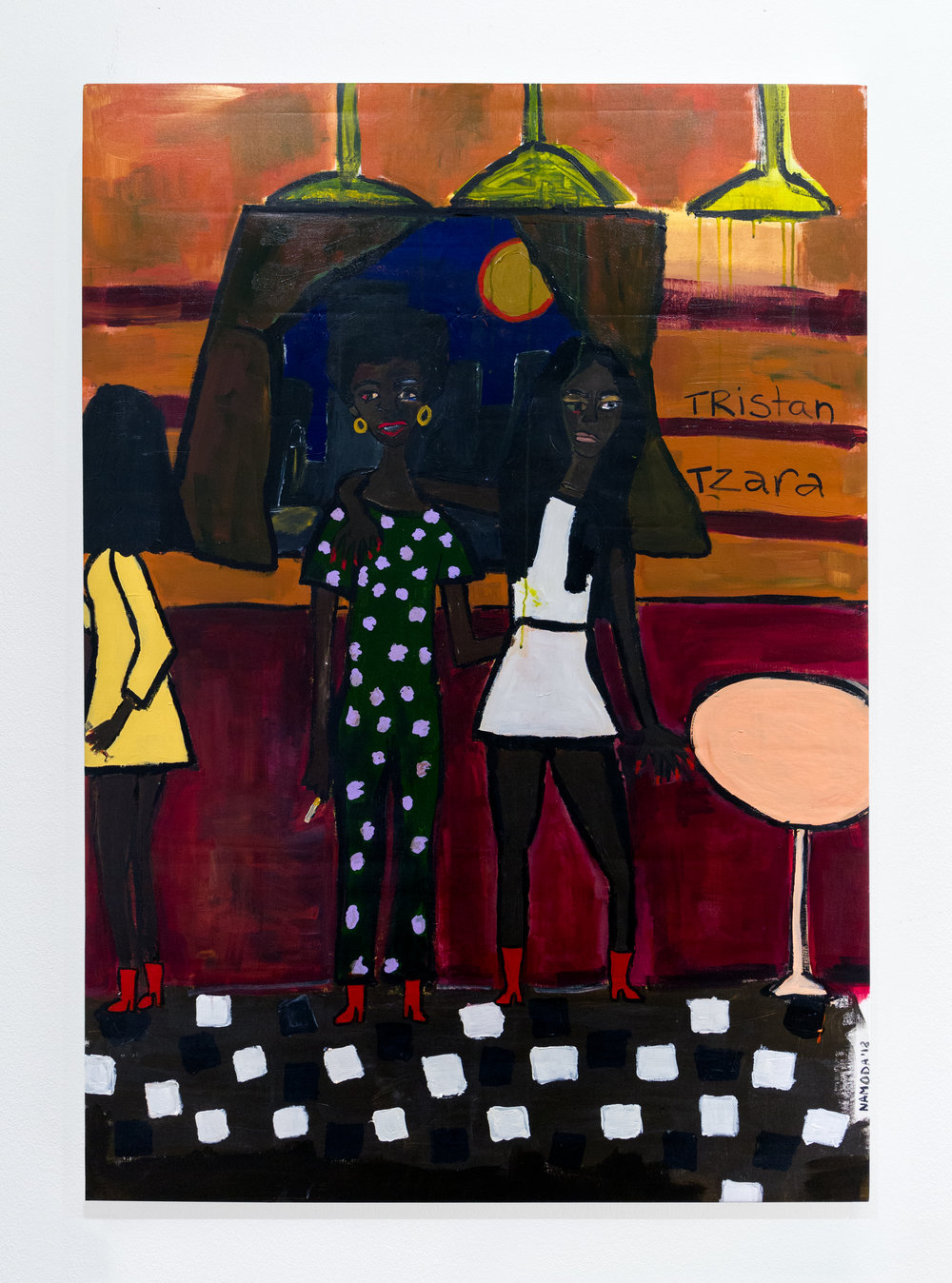 Cassi Namoda:   The Three Marias , 2018 Acrylic on canvas 57h x 40w inches
