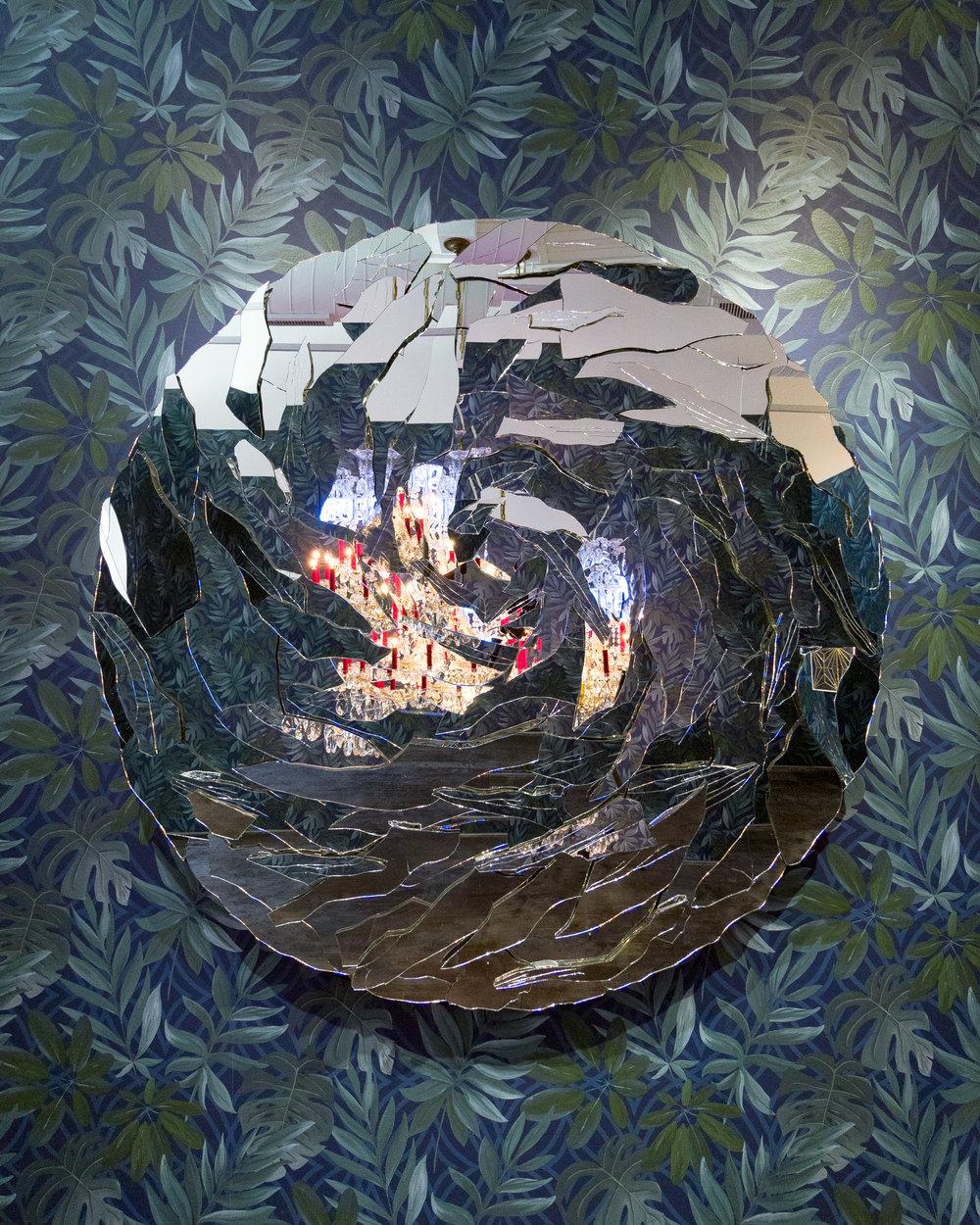 Carlos Rolón : Irma , 2018 Hand-cut Silver Mirror on Aluminium Panel 60 inch diameter