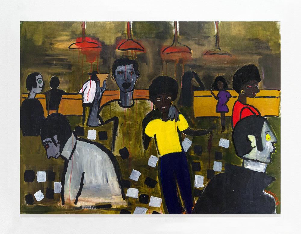 Cassi Namod  a:  Texas Bar 1971, Maputo City , 2018 Acrylic on canvas 41h x 55w inches