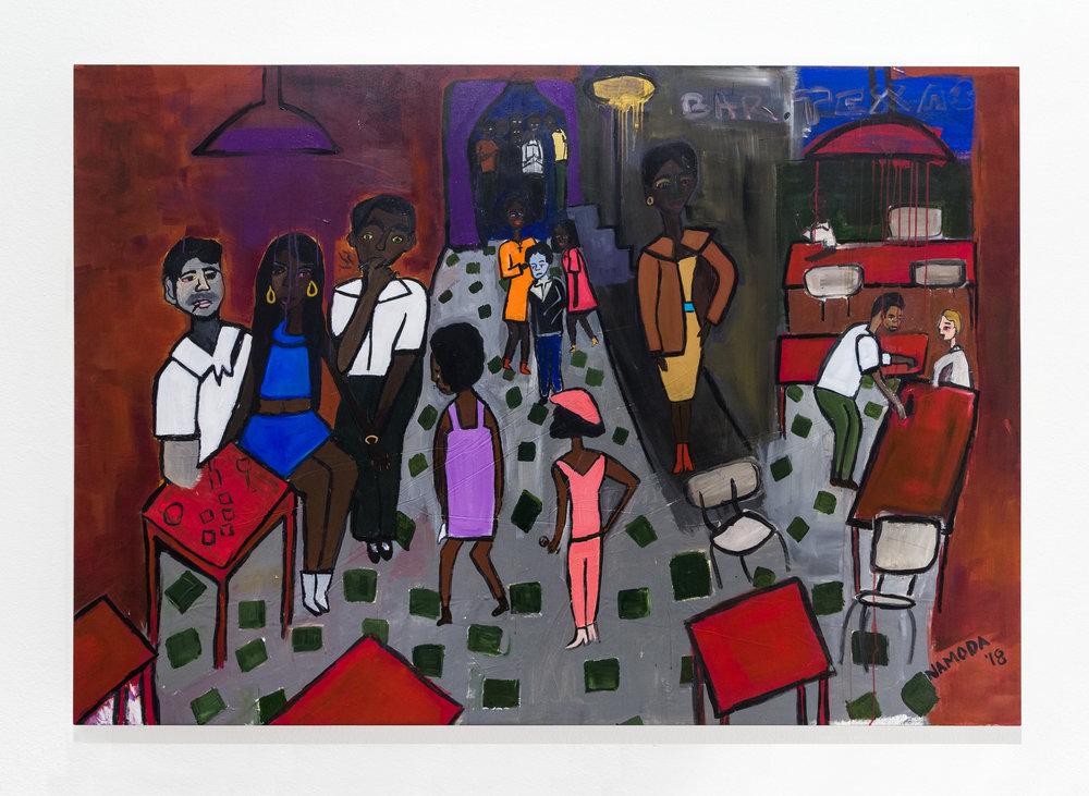 Cassi Namoda:  Bar Texas, 1971 , 2018 Acrylic on canvas 56h x 81.50w inches