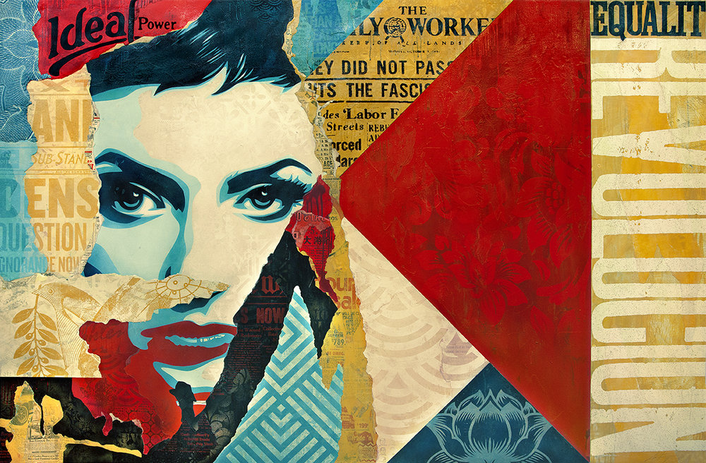 Shepard Fairey:   Ideal Power , 2017 Mixed Media (Stencil, Silkscreen and Collage on Canvas) 88h x 58w inches