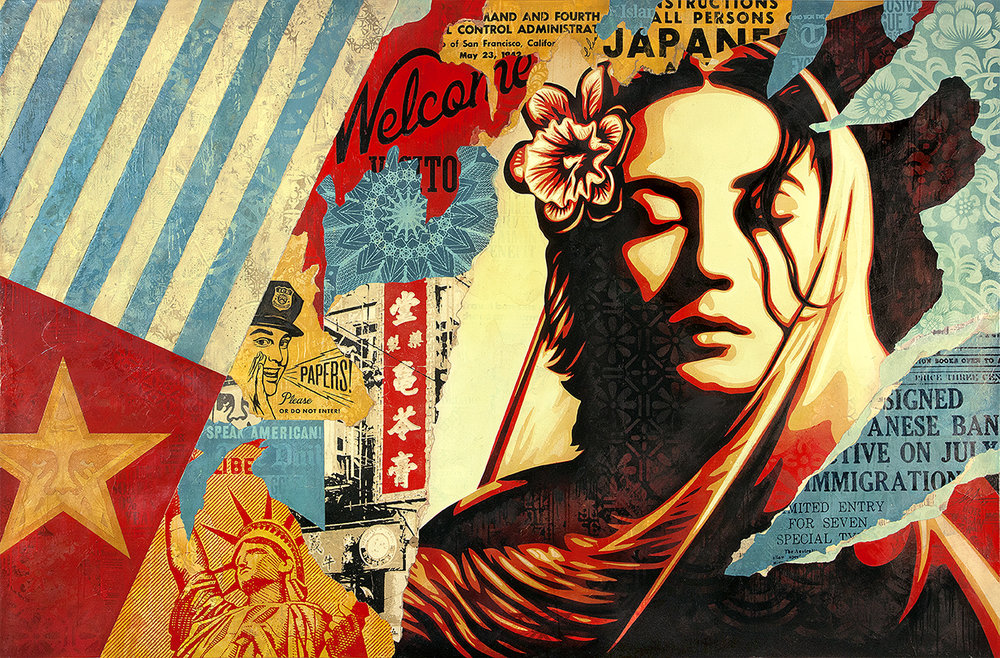 Shepard Fairey:   Welcome Visitor , 2017 Mixed Media (Stencil, Silkscreen and Collage on Canvas) 58h x 88w inches