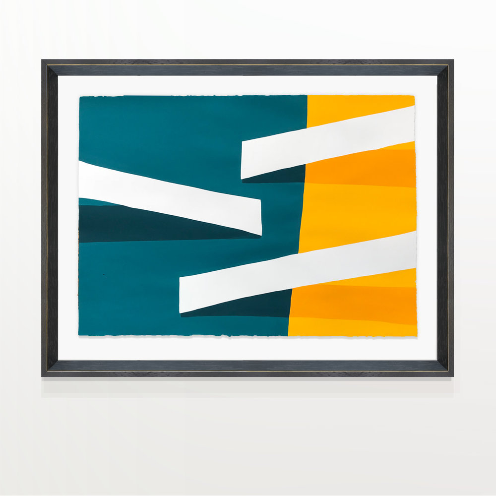 Paul Kremer:   Ramps Blue & Yellow (paper study) , 2018 Acrylic on canvas; framed 22.50h x 30w inches