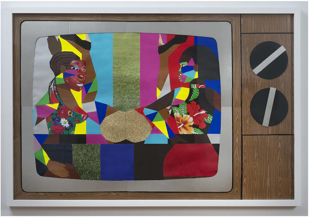 Derrick Adams:   Stunts and Shows,  2014 Mixed media collage on paper and mounted on archival museum board 74h x 50w inches