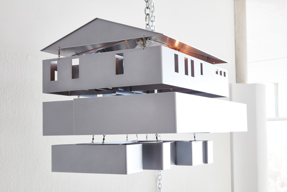 Mike Kelley:   Mobile Homestead Swag Lamp , 2010 Aluminum, steel, lighting fixtures, writing 36h x 48w x 24d inches