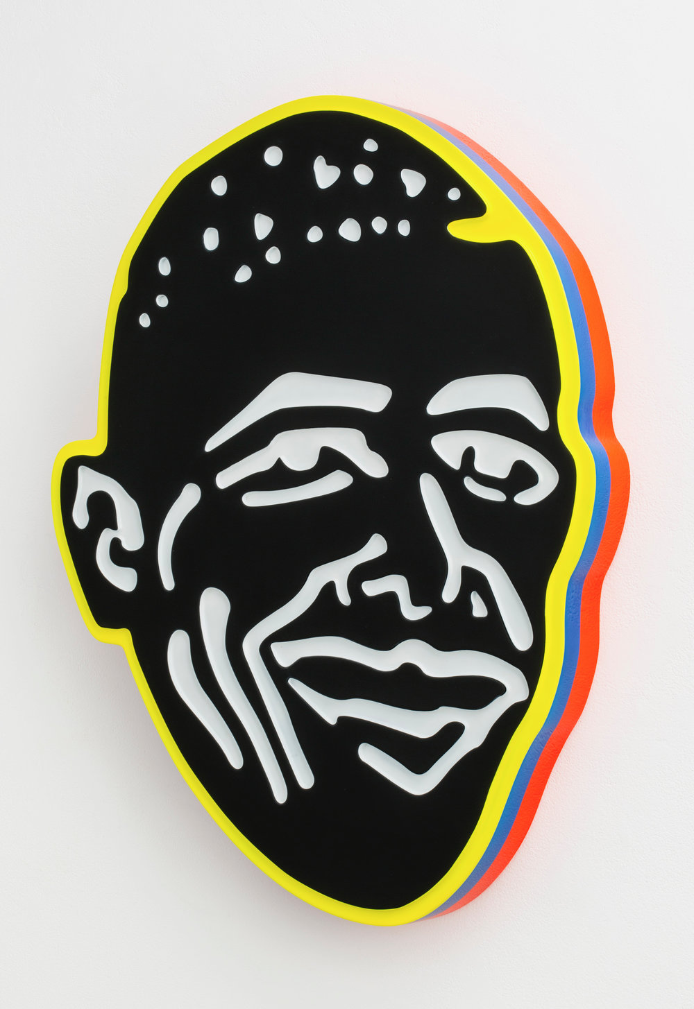 Beverly Fishman  -  Black and White Obama (Ecstasy) , 2013 Urethane on wood 34.5h x 26w x 4d inches