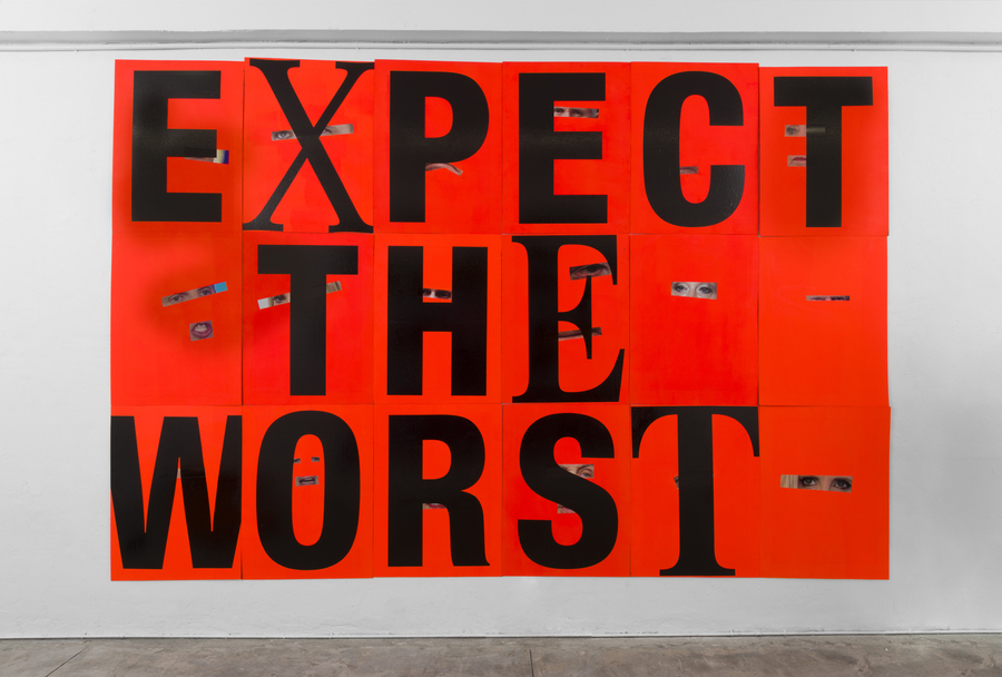 Cali Thornhill-Dewitt  -  Expect The Worst , 2017 Corrugated plastic, vinyl, and paint 18h x 12w feet