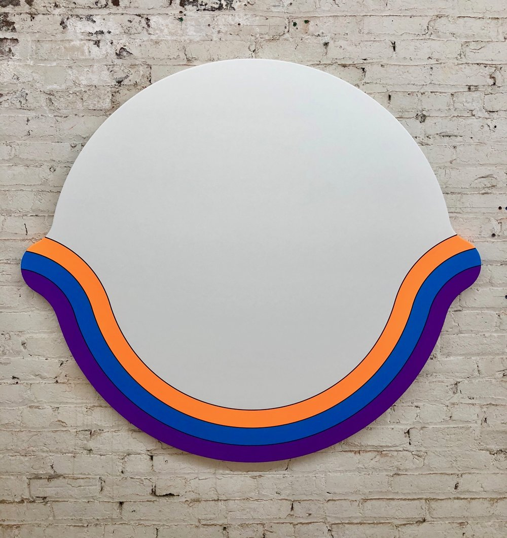 Greg Bogin  -  Smile , 2018 Acrylic and urethane on canvas 48h x 53w inches