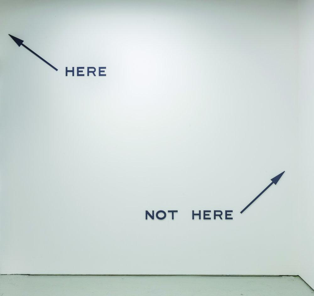 Micah Lexier  -  Here, Not Here (Dark Grey) , 2017  Aluminum, enamel and paint Dimensions variable