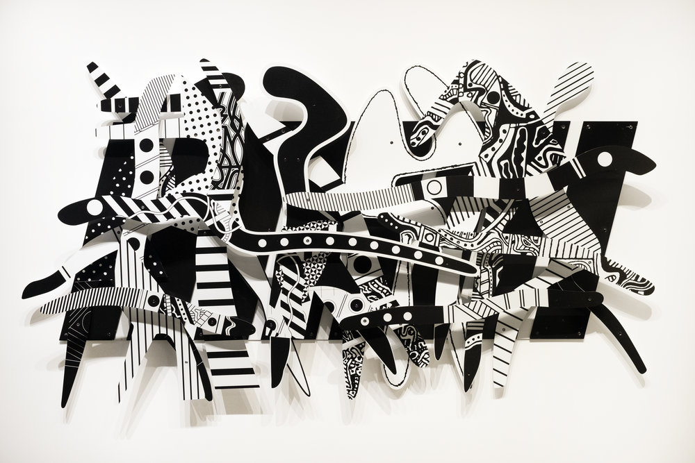 Charles McGee  -  Rhapsody in Black and White , 2008 Ultraviolet ink-jet spray system on dibond 60h x 108w inches