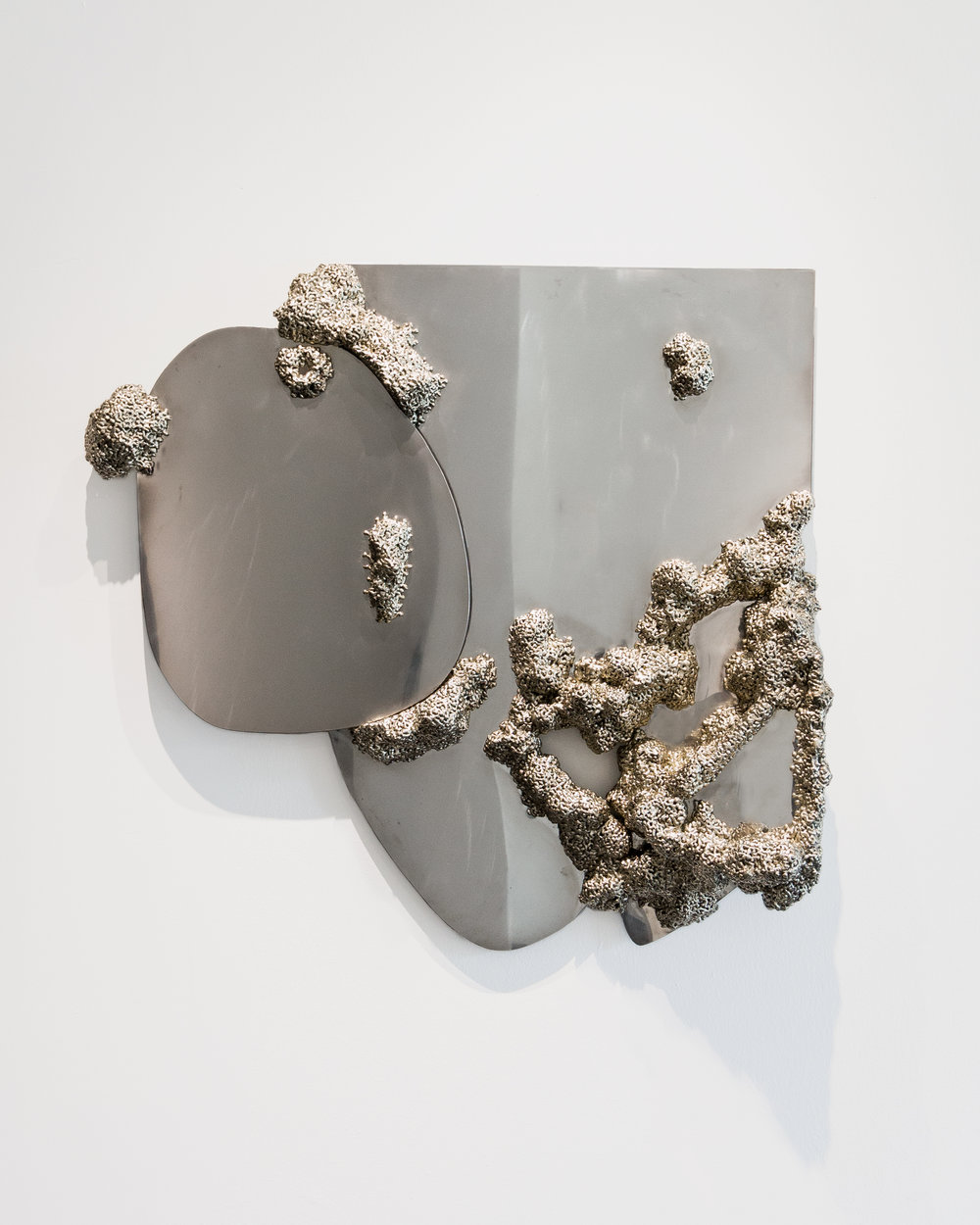 Jack Craig  -  Silvered Steel Mirror , 2018 Nickel silver and stainless steel 38h x 36w x 8d inches