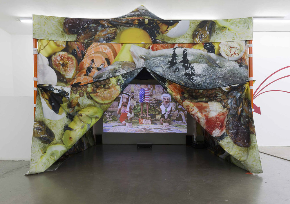 Sheida Soleimani  -  Medium of Exchange , 2018 Projection, tent 120h x 144w x 144d inches Image courtesy of the artist and Edel Assanti