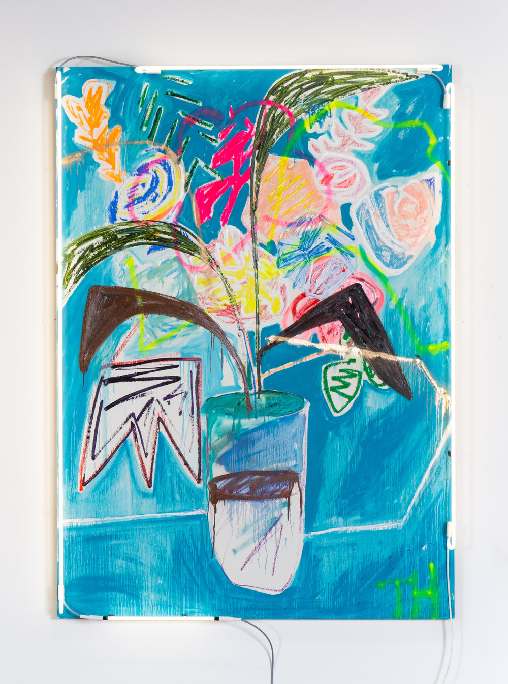 Thrush Holmes  -  Lucky Painting , 2017 Oil, oil stick, spray paint, neon on panel 84h x 60w inches