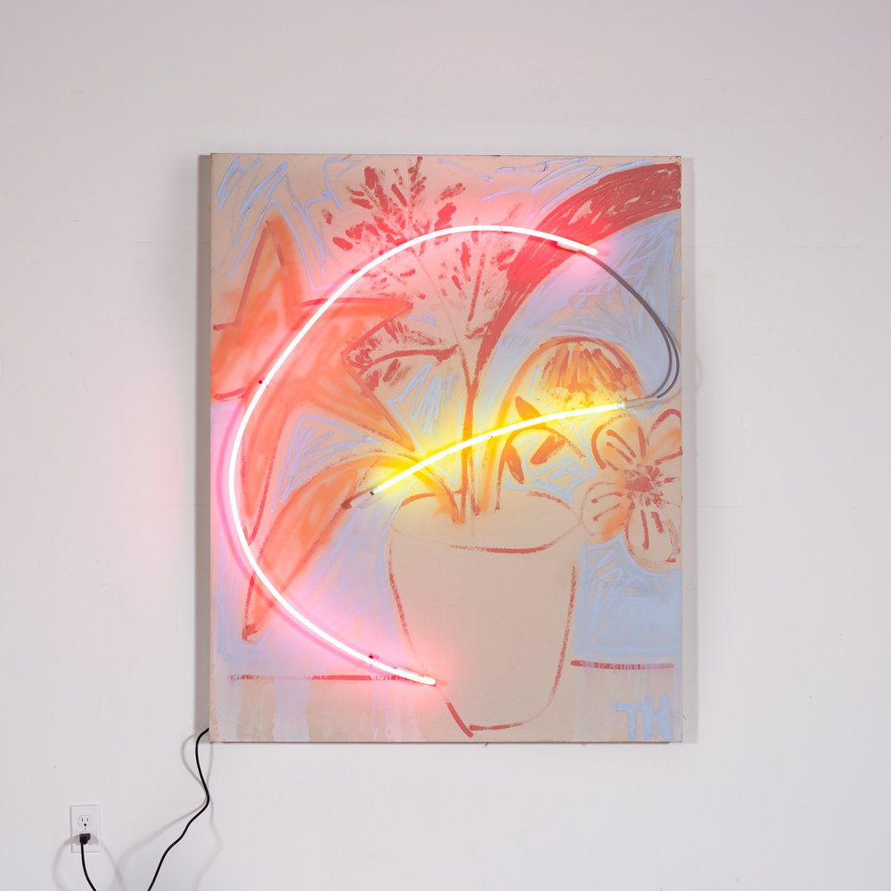 Thrush Holmes  -  Hourless , 2017 Oil, oil stick, neon on canvas 60h x 48w inches