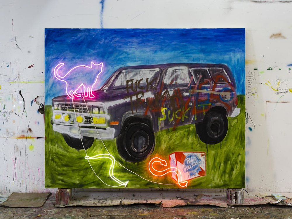 Thrush Holmes  -  Suck it , 2018 Oil, spray paint, neon on canvas 96h x 120w inches
