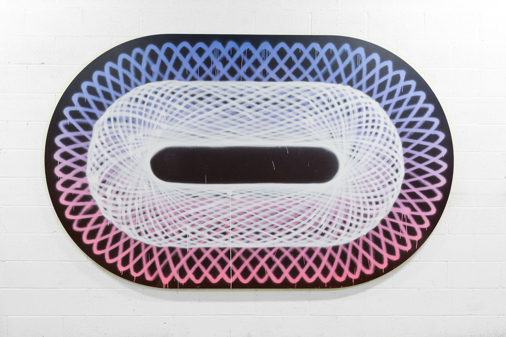 Jason REVOK  -  Obround Spirograph #1 , 2018 Acrylic and synthetic polymer on canvas 72h x 116w inches