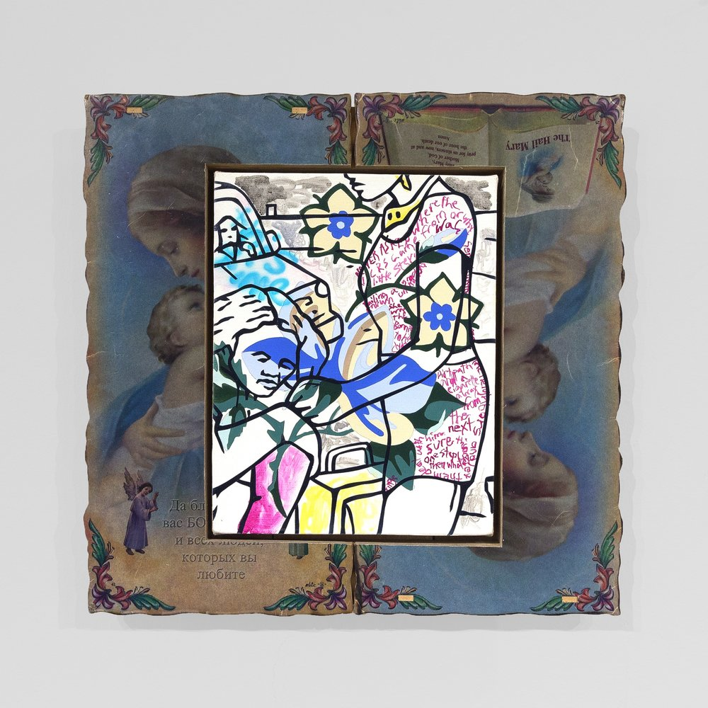 Willie Wayne Smith  -  Same Pattern , 2017 Acrylic and airbrushed acrylic on canvas with artist frame 16h x 16.50w inches