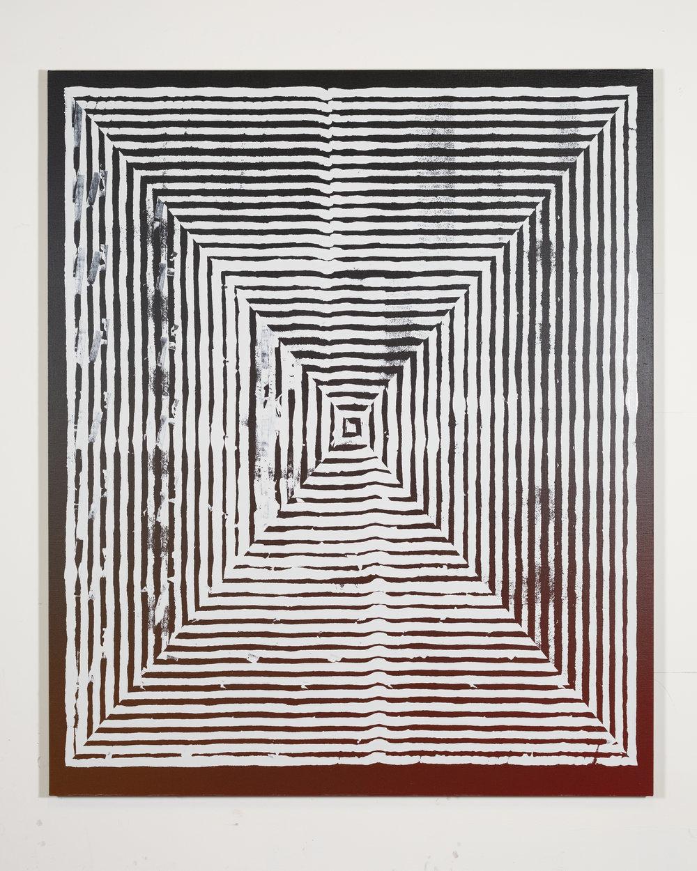 Jason REVOK  -  Kundalini_loop_2/19_A,  2019 Synthetic polymer & oil enamel on linen 72h x 60w inches