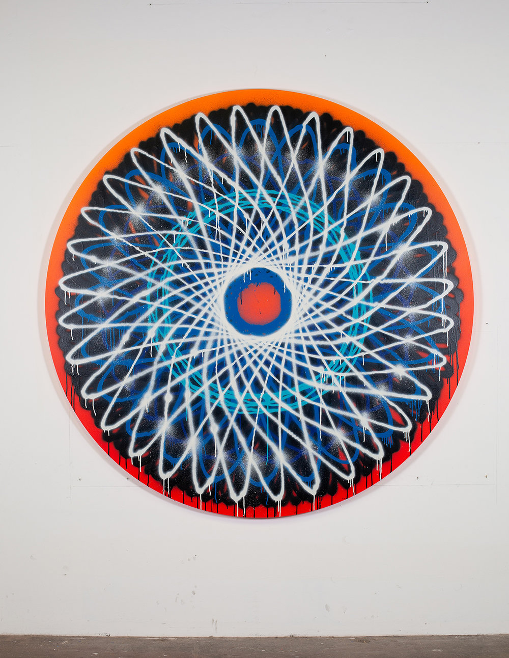 Jason REVOK  -  Spirograph_RBW_3/19_A , 2019 Synthetic polymer & acrylic spray paint on shaped canvas 72 in diameter