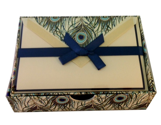 Italian boxed stationery in peacock design