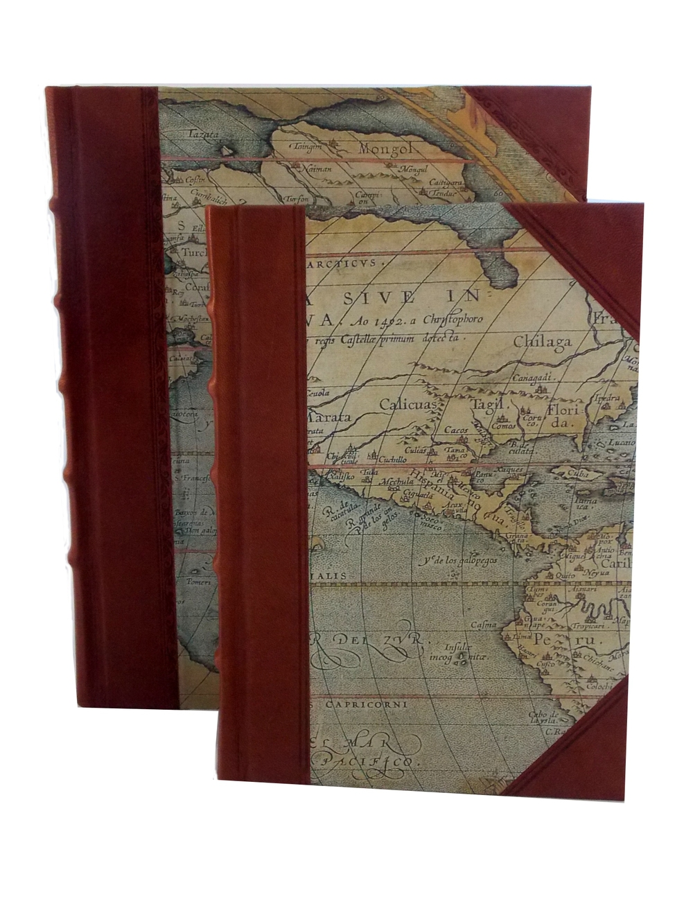 World Maps Half Leather Journals