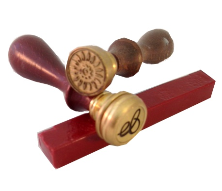 Wax seals available as single letter or decorative element