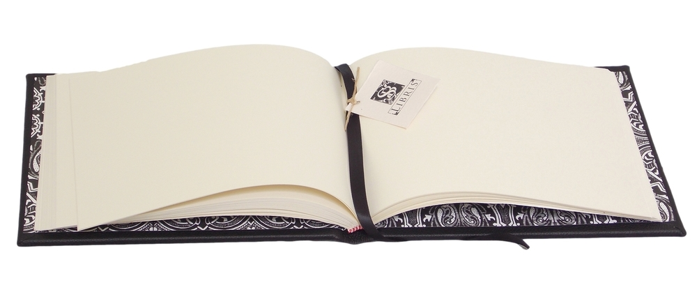 Blank Cream pages inside Full Black Leather Signature Book