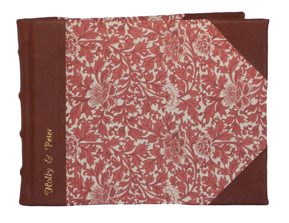 Half Leather Signature Book in Provence Red design with gold embossing.