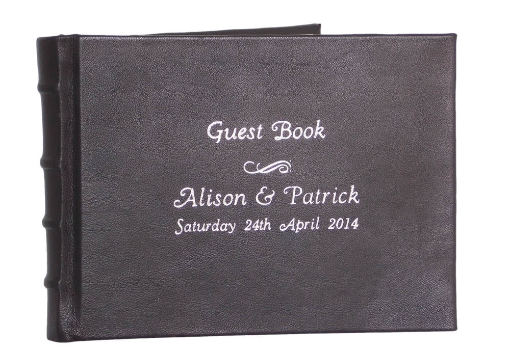 Full Leather Wedding Guest Book with Silver Embossing