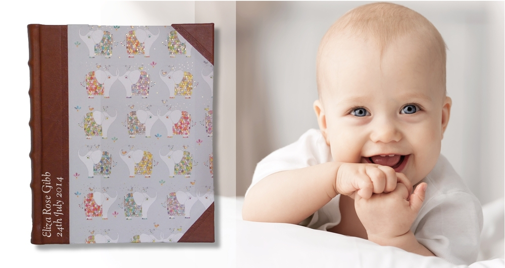 Product Featured: Baby Elephant Leather Portrait Album - Personalised with silver stamping in Goudy Cursive font