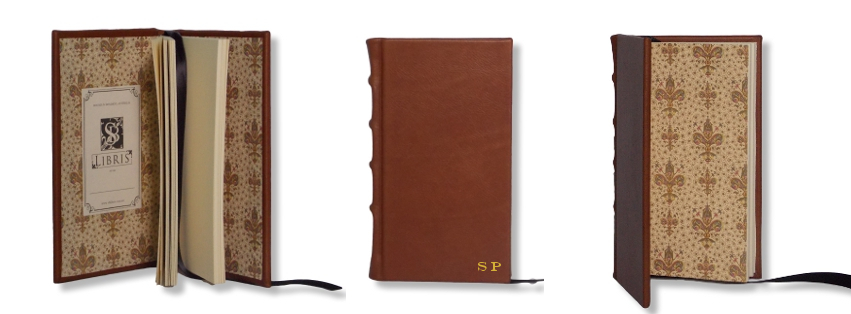 Product Featured:   Slimline Leather Journal in Brown  $75.  Gold embossing of initials in Engravers font (embossing $15)