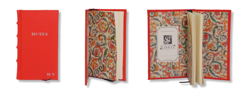 Product Featured:   Slimline Leather Journal in Orange  $75. Silver embossing of title and initials in Monotype Gallia font (title embossing $25, Initials $15)