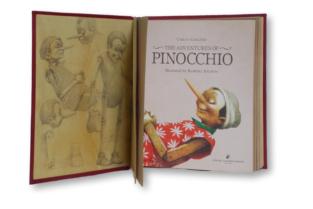 We opted to keep the original endpapers when we rebound this edition of Pinocchio - for obvious reasons.