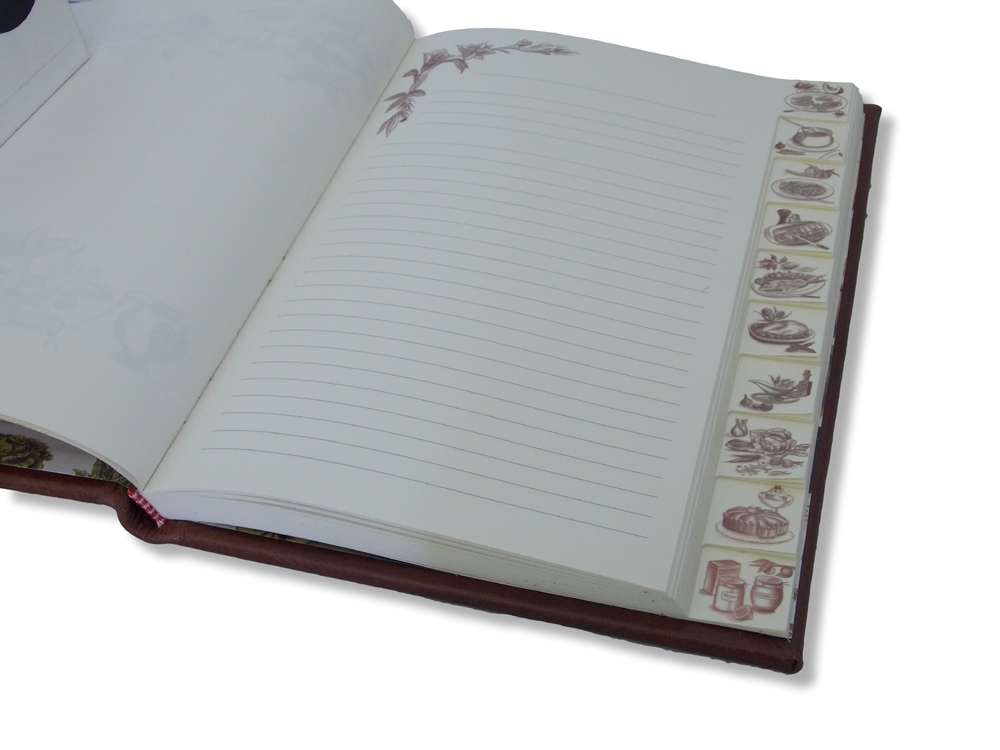 Both full and half leather recipe books feature 10 tabbed sections for organising your recipes.