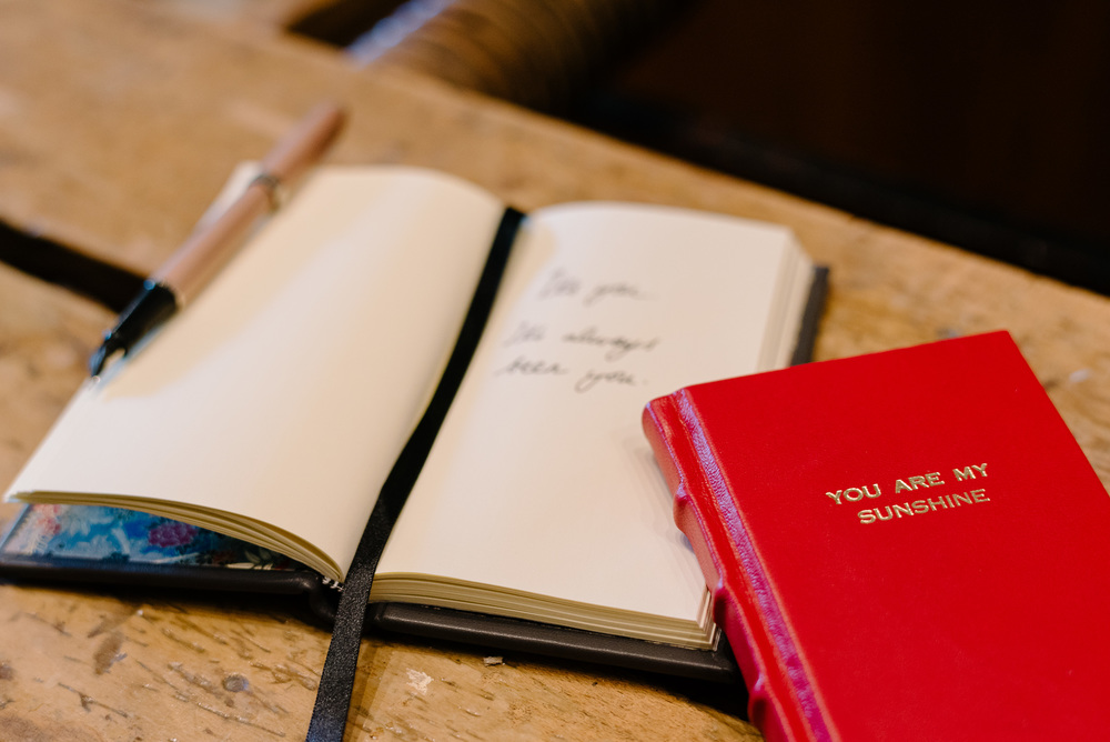 Red Leather Embossed Slimline Journal
