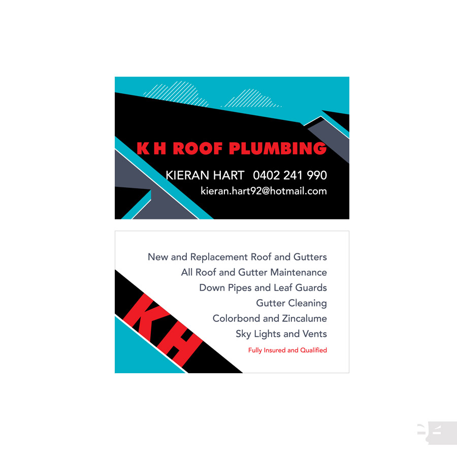 BUSINESS CARD DESIGN  K H Roof Plumbing - Albany WA