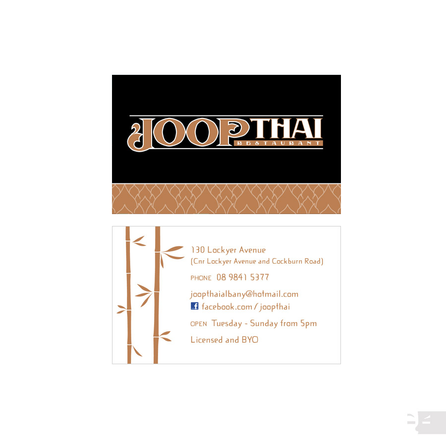 BUSINESS CARD  DESIGN  Joop Thai Restaurant - Albany WA