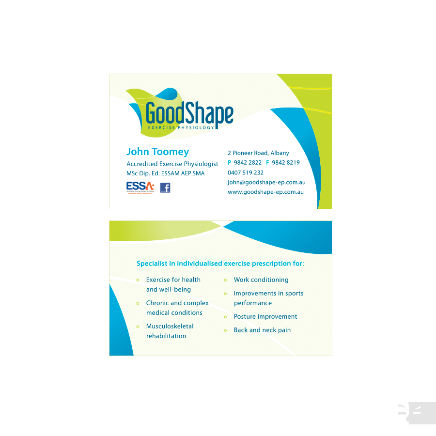 BUSINESS CARD DESIGN  GoodShape Exercise Physiology - Albany WA